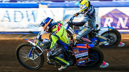 Kyle Newman inside Ludvig Lindgren during heat three of the Ipswich v Newcastle meeting.