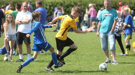 Action from the Stowupland 5-a-side tournament.Pictures: RICHARD MARSHAM/RMG PHOTOGRAPHY