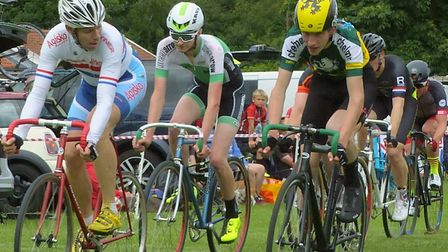 Eventual winner John McClelland looks across to Laurence Lisher and Fred Gill at the West Suffolk Wh