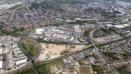 An aerial photo of the Harris Business Park off Hadleigh Road, Ipswich, in the triangular site at th