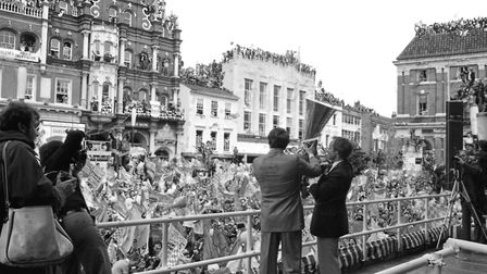 Mick Mills and Bobby Robson raising the UEFA Cup on the Cornhill in 1981. Fans are on every vantage