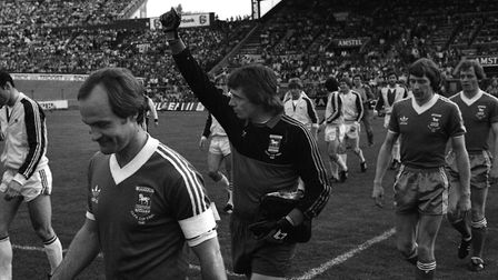 Mick Mills leads out the Ipswich Town team before the second leg of the UEFA Cup final in Amsterdam