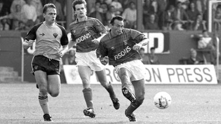 Simon Milton playing against Oxford in the autumn of 1989. Town came back from 2-0 to grab a point i