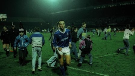 Simon Milton leaves the pitch after a clash with Norwich back in 1988