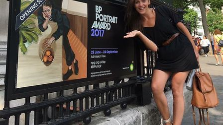 Suffolk artist Ania finds her self portrait on the poster for the BP Portrait Awards exhibition at t