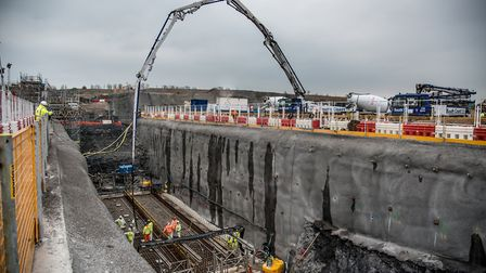Work under way at Hinkley Point C on galleries, concrete tunnels which will carry a network of pipes