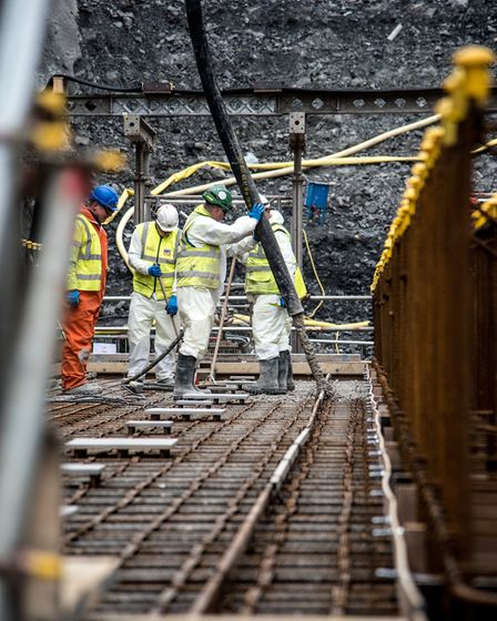 Concrete being poured as work gets under way at Hinkley Point C power station. Picture: EDF ENERGY