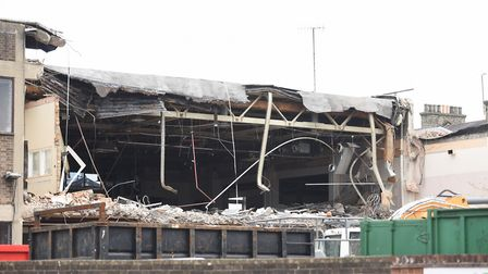 Demolition of the old Archant office on Lower Brook Street. Picture: GREGG BROWN