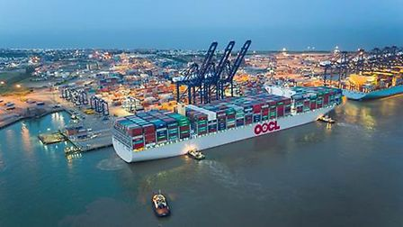 The world'�s largest container ship, the OOCL Hong Kong, making its maiden call at the Port of Felix