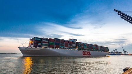 The OOCL Hong Kong arrives at Felixstowe.Picture: STEPHEN WALLER