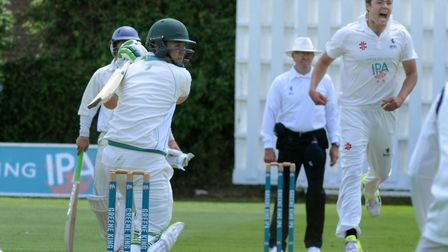 Suffolk bowler Hugo Douglas, in action during the Minor Counties Championship match against Bucks. D