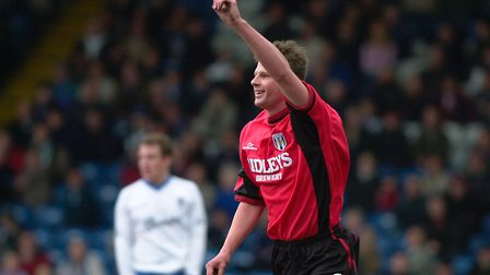 Adrian Coote, celebrates one of his few goals for the U's, at Bury's Gigg Lane. Picture: PAGEPIX
