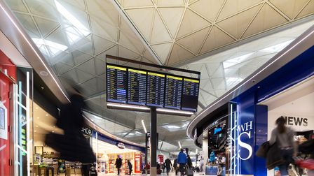 The departure lounge at Stansted Airport