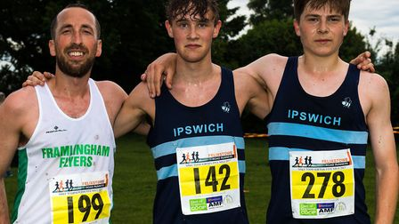 The top three at the Kirton Friday Five: winner Tom Adams (centre), second-placed Jim Last (left) an