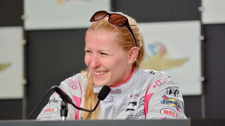 Pippa Mann during the press conference for the Indianapolis 500. Photo: Contributed