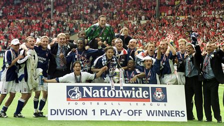 Promotion at last: The Ipswich Town players celebrate Play-Off triumph following three previous semi