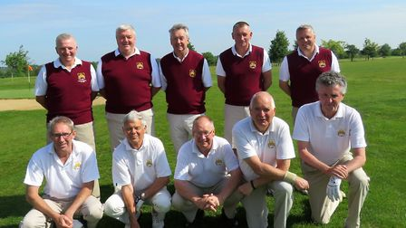 The Suffolk Senior team which beat Norfolk by 10 matches to five at Halesworth. Back (from left): Ke