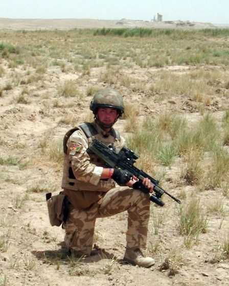 Ashley Hall while in Afghanistan. Picture: MARTIN ROSE/EASTNEWS PRESS AGENCY