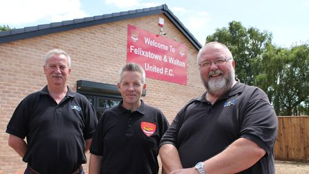 From left, Globex managing director, Andy Wilding, Felixstowe & Walton FC facilities manager, Chris