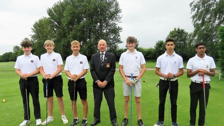 Newton Green (left) Oli Page, Ben Tatum and Harvey Watts on the first tee at Bury St Edmunds before
