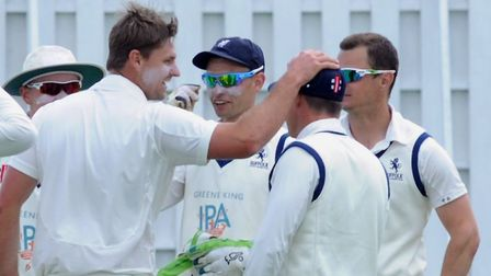 Kyran Young, left, who took four wickets for Suffolk against Norfolk. Picture: ANDY ABBOTT