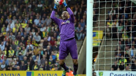 Watford keeper, Heurelho Gomes, in action during a Premier League match against Norwich. Rene Gilmar