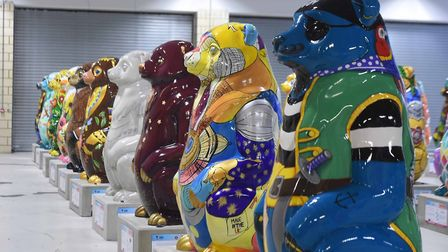 Some of the bear statues for The Big Sleuth arts project in the West Midlands, for which Stowmarket-