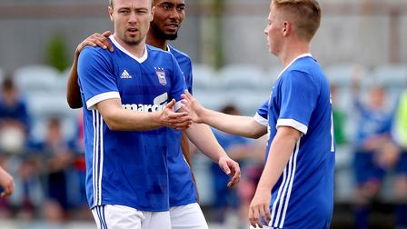 Freddie Sears celebrates scoring Ipswich Town's third goal in this afternoon's 5-0 friendly win at I