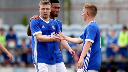 Ipswich's Freddie Sears celebrates scoring their third goal of the game with Conor McKendry and Gran