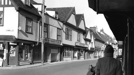 St Nicholas Street Ipswich in the winter sunshine of February 1961. On the left is the corner of Cro