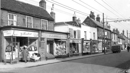 Shops in St Helens Street, Ipswich, in the 1950s. You can see G Deeks estate agent, where Ray Deeks