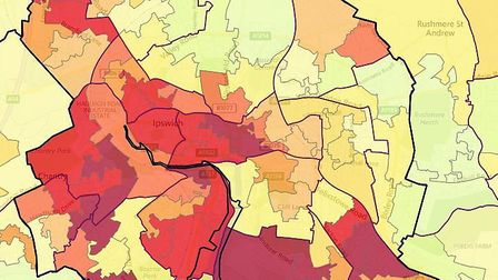 Ipswich's most deprived neighbourhoods are concentrated in the south and east of the town. Picture: