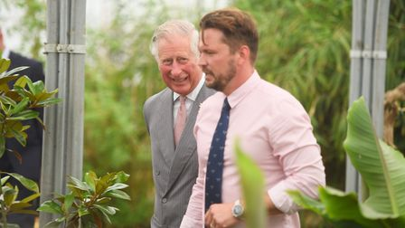 The Prince of Wales and Jimmy Doherty during a visit to Jimmy's Farm to find out more about its educ