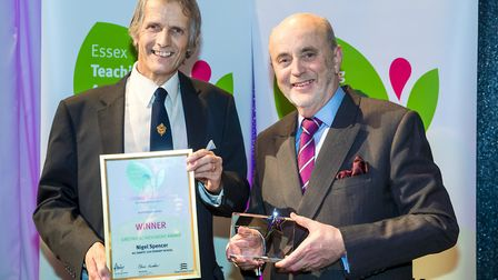 Nigel Spencer being handed a Lifetime Achievement Award at the Essex Teaching Awards 2017. Picture: