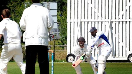 Hadleigh batsman Marlon Dias lofts the ball skywards. He was duly caught by Will Parker off Chris We