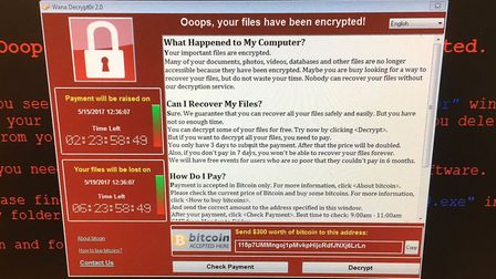 The screen of a hacked NHS computer Photo credit should read: @fendifille/Twitter/PA Wire