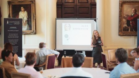 The presentation during Lighthouse Training's anniversary event at Hintlesham Hall. Picture: Light