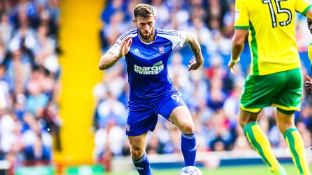 Daryl Murphy, in action for Ipswich Town against Norwich City, at Portman Road,in August 2016.