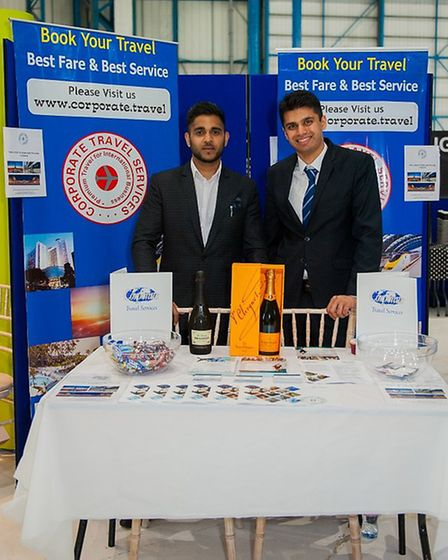 The team from Corporate Travel, winner of the best stand award at the Check-in @ Stansted Business E