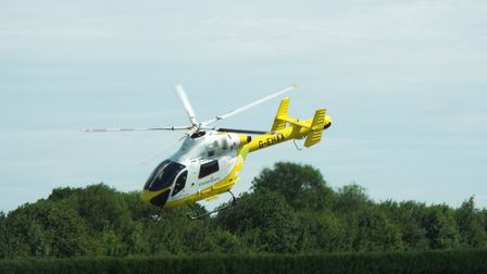 Essex Air Ambulance, which took off to respond to a call while organisers of the Stebbing vintage tr