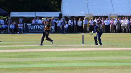 Ex-England batsman Usman Afzaal during his innings of 53 not out for Lashings. Picture: NICK GARNHAM