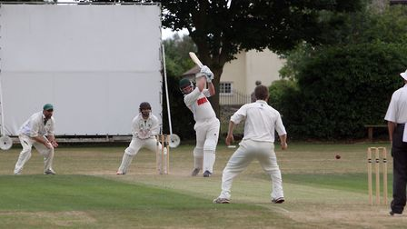Darren Hayward plays an attacking shot during his innings of 61 in Worlington's victory over Woolpit