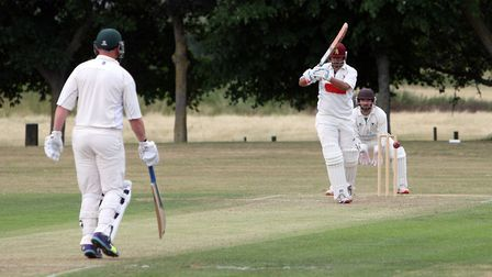 Ziaf Kulasi plays a confident shot during Worlington's total of 251 for nine against Woolpit. Kulasi