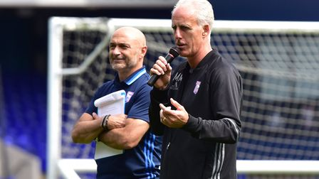 Simon Milton stands alongside Ipswich Town manager Mick McCarthy at the club's open day in 2016.