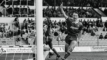 Simon Milton scores a goal for Ipswich at Leeds, in the early days of his Town career.
