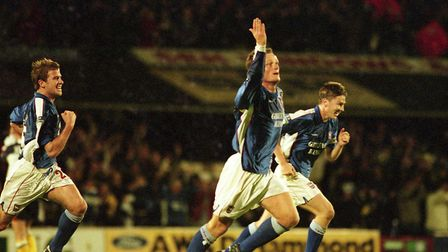 Jim Magilton celebrates on a magical night. Pictures: ARCHANT