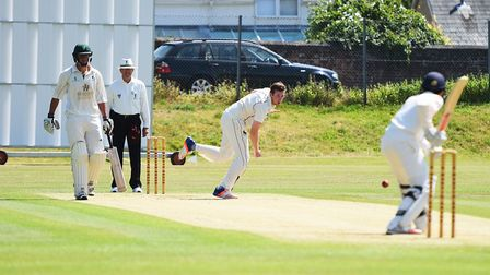 James Poulson in bowling action for Sudbury. Picture: GREGG BROWN
