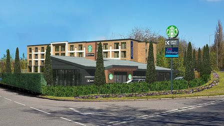 This is how the planned Travelodge and drive-thru Starbucks off Etna Road in Bury St Edmunds might l
