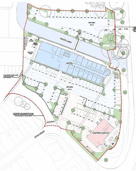 A map showing the potential layout of a proposed Travelodge and Starbucks off Etna Road in Bury St E