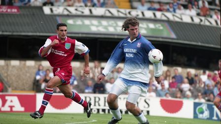 Ian Marshall in action for Ipswich Town